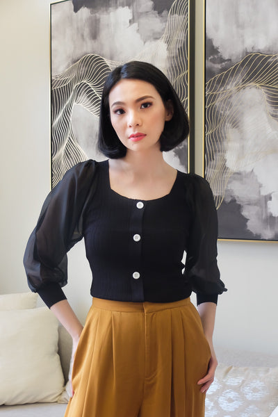 black knitted with white button accent chiffon longsleeve