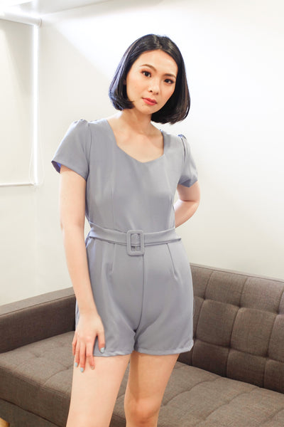 violet romper with belt