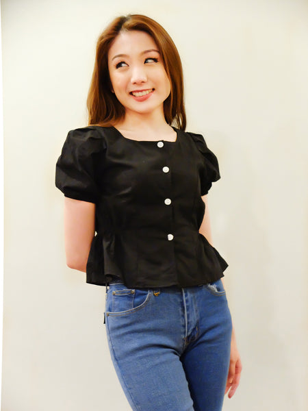 black square neck button down with side garters