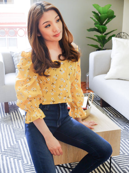 mustard embroidered button down with ruffle longsleeves