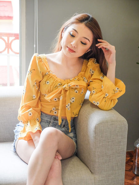 mustard embroidered ribbon center longsleeves