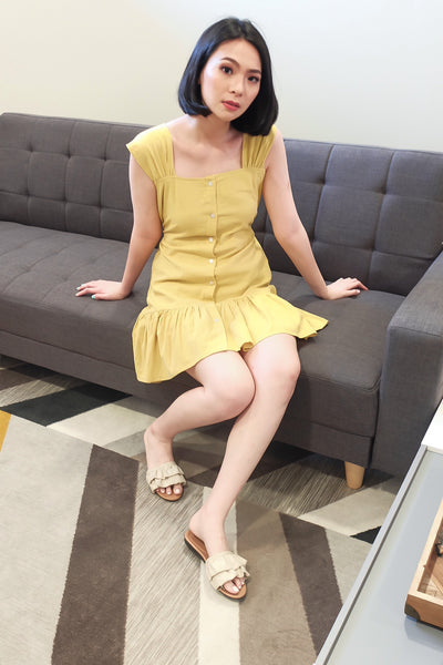 yellow  scallop strap button accent trumpet dress