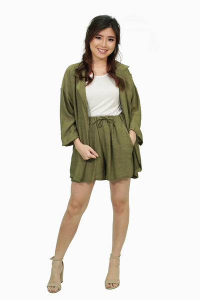 Military green kimono white shirt with shorts
