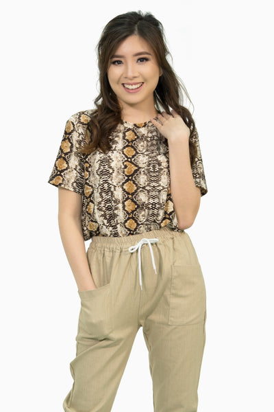 Brown snake skin shirt