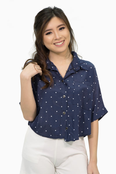 Navy blue polka button down top