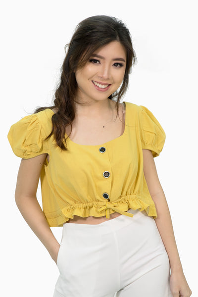 Mustard scallop sleeves crop with button accent