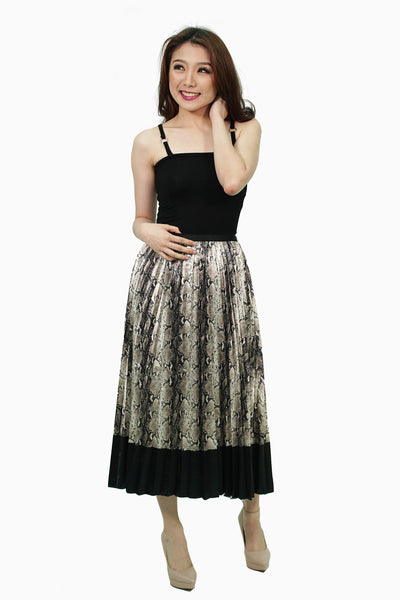 Snake skin pleated satin skirt