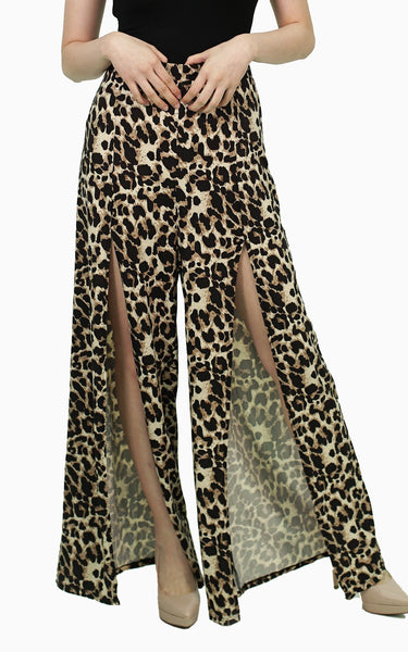 Leopard palazzo with slit