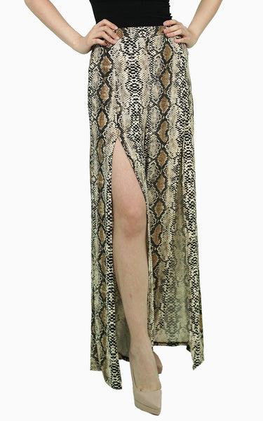 Snake skin palazzo with slit