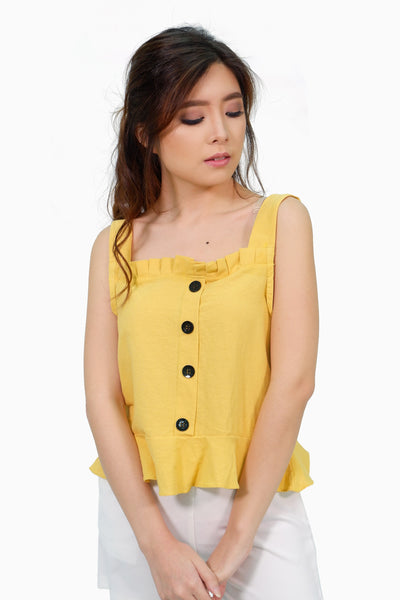 Yellow spag pleated linen top