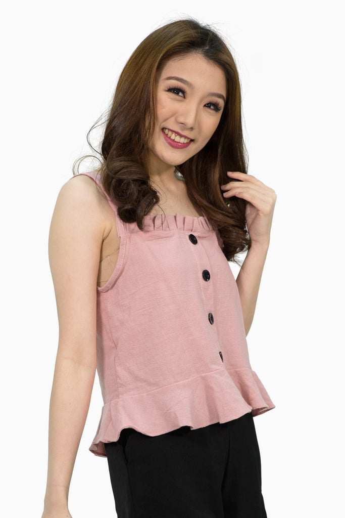 pink spag pleated linen top