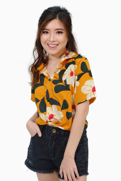 Mustard flower button down