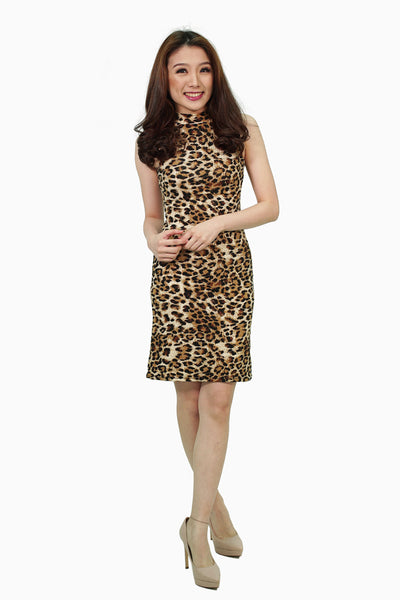 Leopard sleeveless dress
