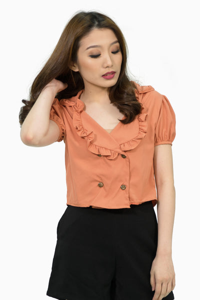 Coral ruffles collar four buttons