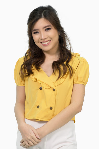Yellow ruffles collar four buttons