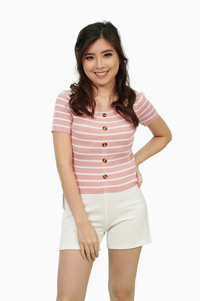 Pink knitted stripes with button accent