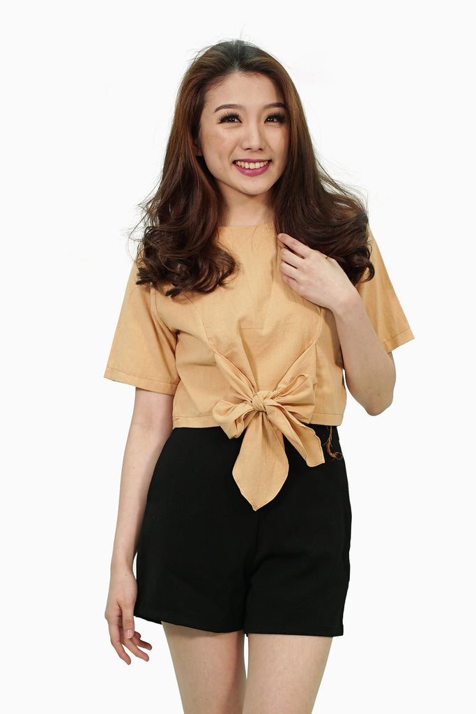 Brown crop top with front ribbon