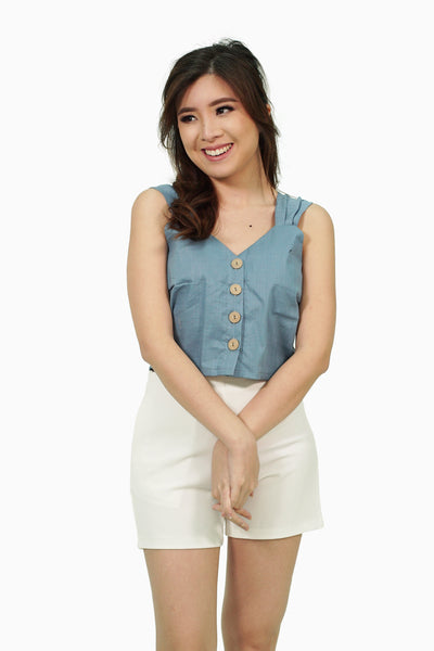 Dusty blue pleated strap button down top