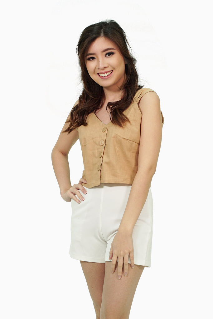 Brown pleated strap button down top