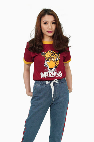 Maroon leopard graphic shirt