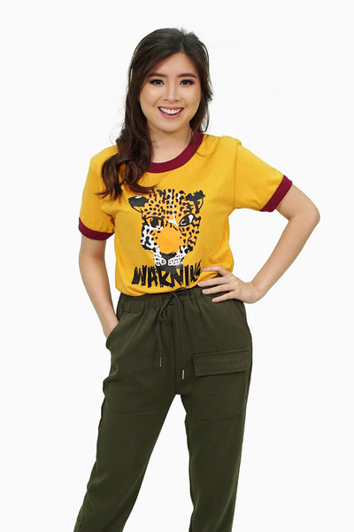 Mustard leopard graphic shirt