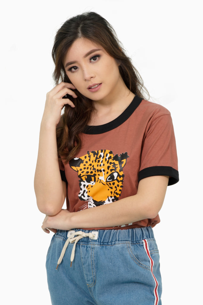Pink brown leopard graphic shirt