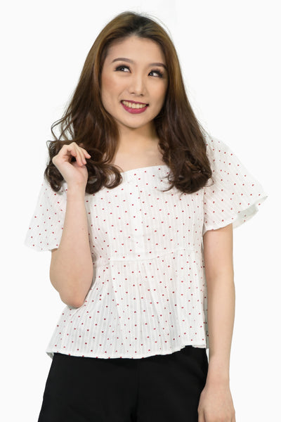 Heart swiss button down peplum top