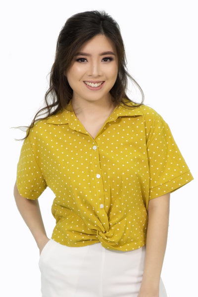 Mustard pink polka dot top with infinity hem