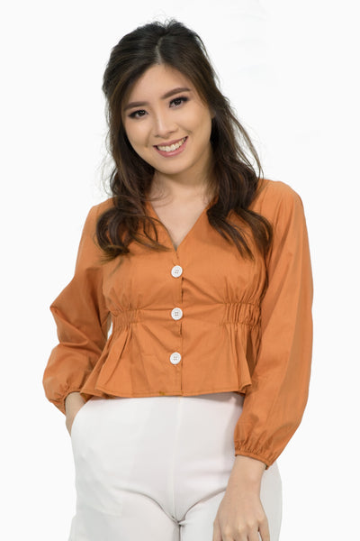 Brown button down peplum longsleeves