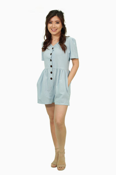 Blue button down romper
