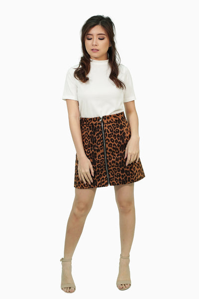 Leopard skirt with zipper
