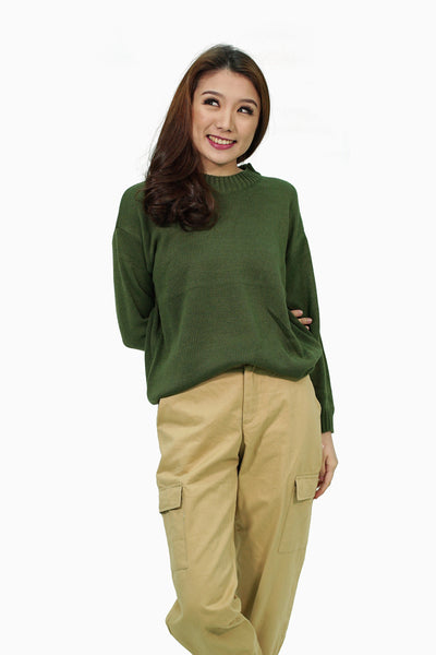 Military green knitted pullover