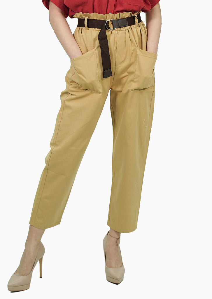 Khaki trouser with belt