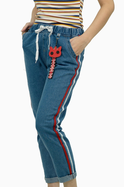 Dark Denim trouser with red and white strip