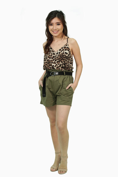 Military green shorts with belt