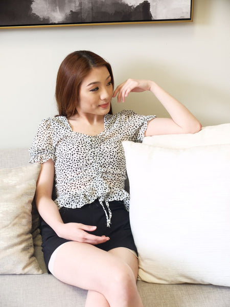 white square neck chiffon sprinkles longsleeves