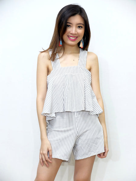 white halter pinstripes and shorts
