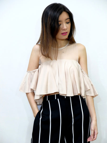 cream mesh sleeveeless top