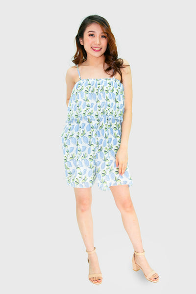 Blue lemon spag pleated romper