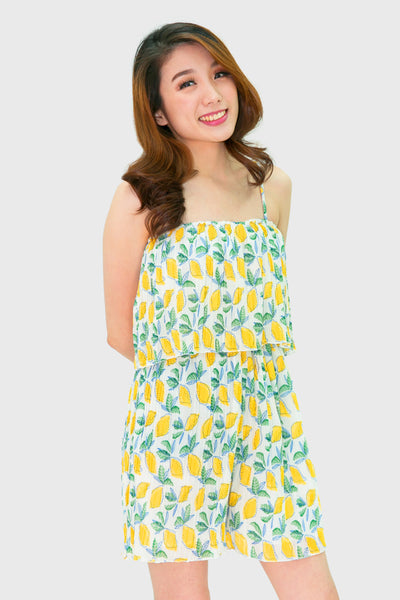 Yellow lemon spag pleated romper