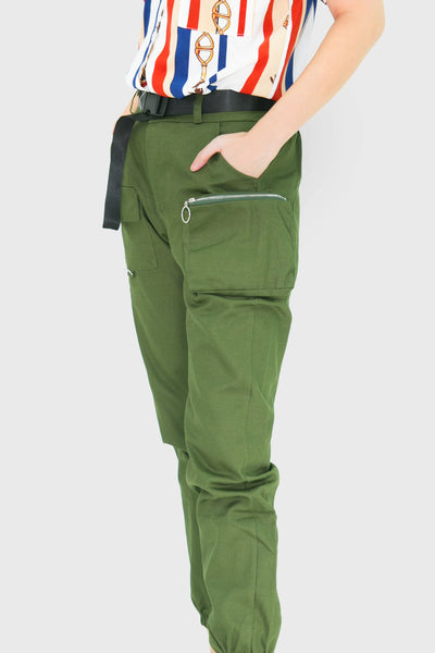 Green cargo jogger pants with zipper pockets