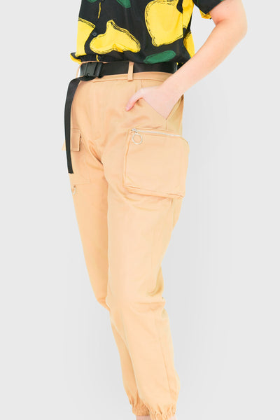 Khaki cargo jogger pants with zipper pockets