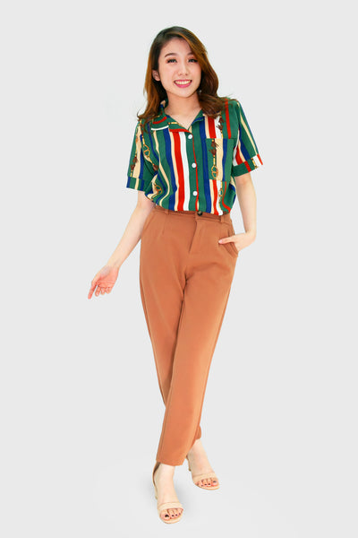 Brown skinny slacks