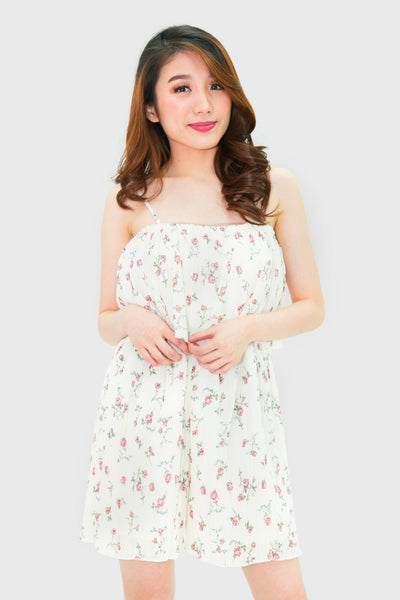 White pink flower pleated spag romper