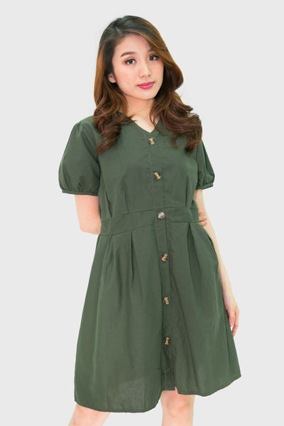 Green button down catcha dress