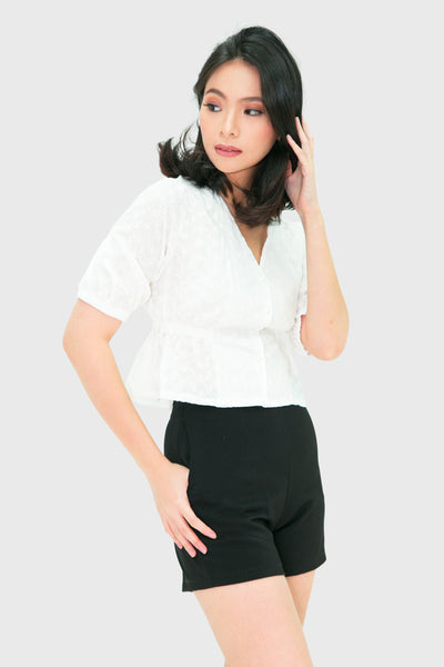 White swiss pearl button short sleeve