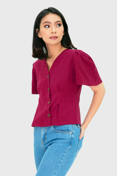 Maroon sided short sleeve