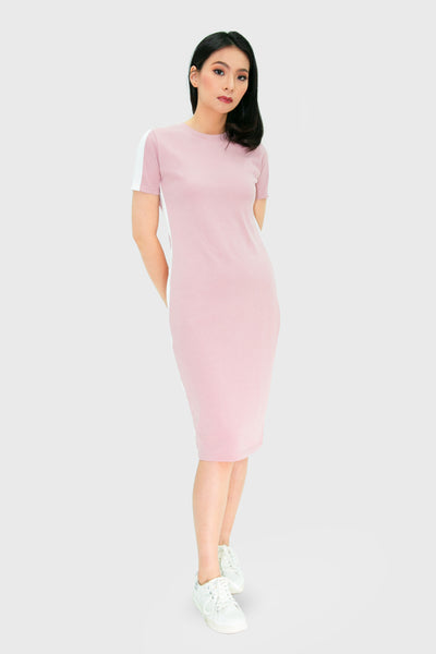 Pink maxi dress with white strip