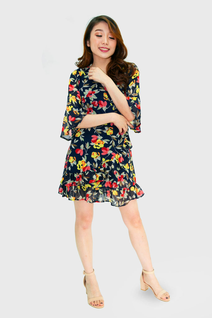 Navy blue multi colored floral fixed wrap dress