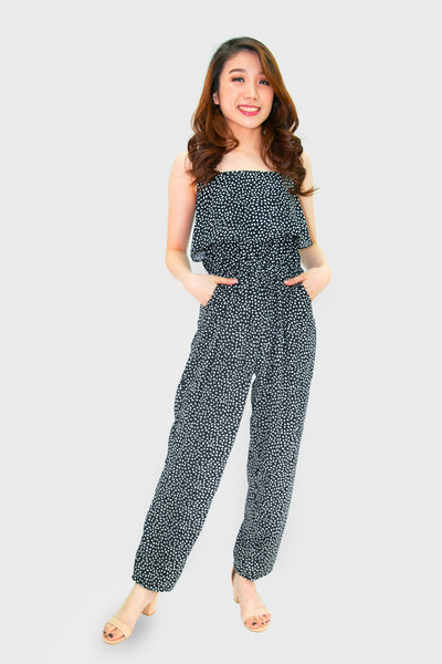 Black leaf jumpsuit